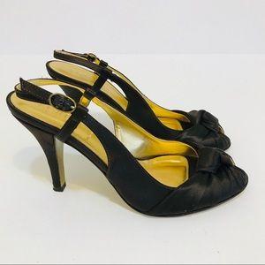 J CREW Shoes satin slingback peep toe brown Italy